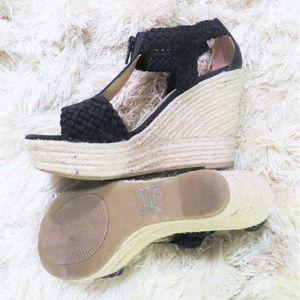 Moda Spana Black Wedge Espadrille Sandal